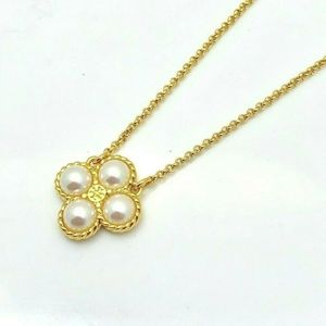 NEW Tory Burch Rope Pearl Clover Pendant Necklace